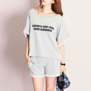 Summer Women Cotton Loose Pajamas Sleepwear 2Pcs Set Tops+Shorts Nightwear M-XXL