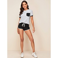 SHEIN Pocket Front Striped Top & Contrast Binding Dolphin Shorts Set