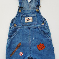 Boy's Denim Overall Shorts -Sports Overall Jeans - Hand Painted Baseball Theme - Toddler Summer Overall Short - Size 24 Months