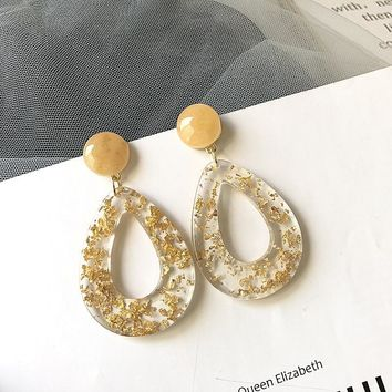 Gold Leaf Drop Hollow Stud Earrings