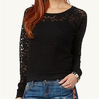 Rose Lace Brushed Top | Long Sleeve | rue21