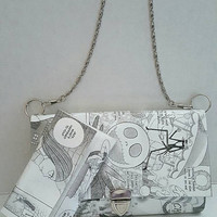 The Nightmare Before Christmas Shoulder Bag - Jack & Emily Skellington Purse and wallet set - Upcycled Comic Book Purse