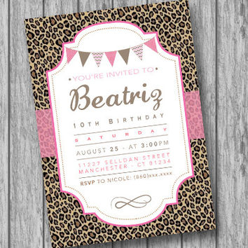 Cheetah Birthday Invitation, Leopard Invitation, Pink and Gold, Girl Birthday Party Invitation, Pink Cheetah Invites Pink Invite (PRINTABLE)