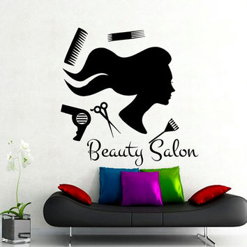 Wall Decal Beauty Salon Hair Salon Fashion Girl Woman Haircut Hairdressing Barbershop Comb Decals Vinyl Sticker Wall Decor Art Mural MN473