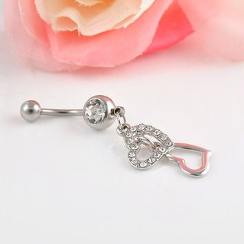 Double Hearts Rhinestone Crystal Medical Steel Belly Button Ring Dangle Navel Body Jewelry Piercings