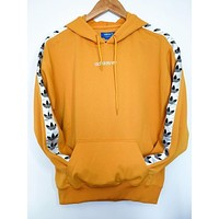 Adidas Popular Print Pullover Top Hoodie Yellow Hoodie Sweater I