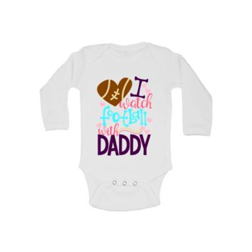 I Watch Football With Daddy Baby Bodysuit