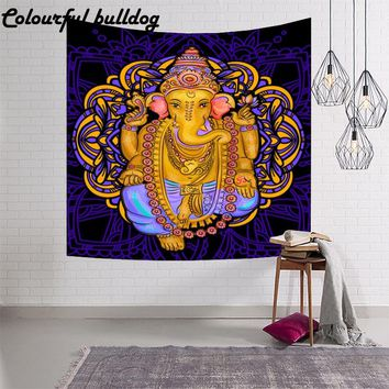 Indian Ganesha Living Room Wall Tapestry Meditation Pattern Dining Table Outdoor Picnic Mat Beach Towels Bedroom Decor Blanket