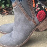 In Motion Embroidered Booties- Grey