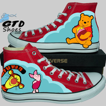 Hand painted Converse Hi. Winnie the pooh, Tigger, And Piglet. Handpainted shoes.