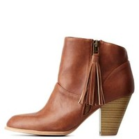 Cognac Qupid Side-Tassel Chunky Heel Booties