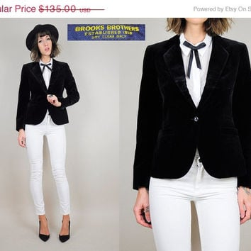 ON SALE BROOKS Brothers vtg 70's black Velvet blazer Deadstock Jacket classic fitted xs / xsmall