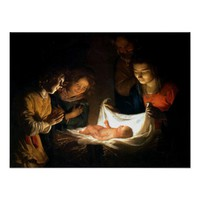 Adoration of the Child Jesus - Honthorst Poster