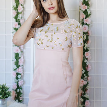 Gabbi Blush With Flowers Dress