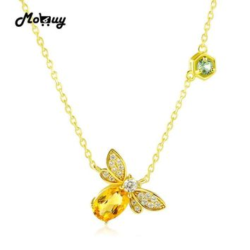 MoBuy MBNI015 Sweet Bee Natural Gemstone Citrine Necklace & Pendant 925 Sterling Silver 14K Yellow Gold Plated Fine Jewelry Gift