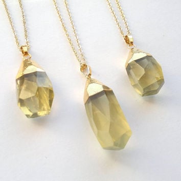 Gold Dipped Lemon Quartz Crystal Necklace Stone Pendant Yellow Crystal Big Stone Gold Necklace Faceted Crystal Quartz Jewelry Gold Plated