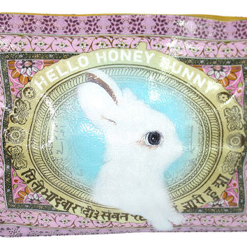 "Lovely White Bunny Art Design "" Hello Honey Bunny"" Oil Cloth Large Make-up or Accessory Travel Bag"