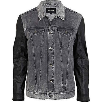 Black denim leather look sleeve jacket - denim jackets - coats / jackets - men