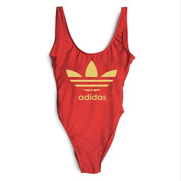 ADIDAS 2018 New Sexy Women's Beautiful Siamese Bikini Swimsuit F-ZDY-AK red