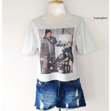 Norman Reedus Daryl Dixon The Walking Dead TV Series Women Top Wide Crop Fashion T shirt