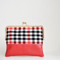 Red Leather And Wool Plaid Clutch, Metal Clasp Rose Gold Kisslock Pouch Purse, Day Bag