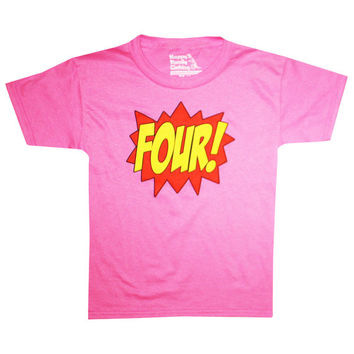 Kids SUPERHERO Fourth Birthday T-shirt - Hot Pink