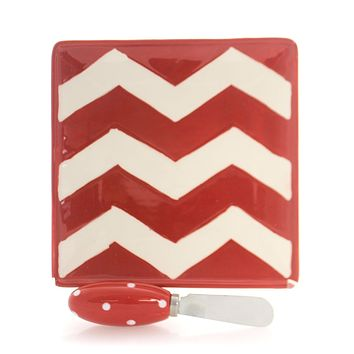 Tabletop SIMPLY CHEVRON CHEESE PLATE Ceramic Dish With Spreader