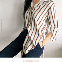 Striped Loose Fit Shirt-Va-b48009