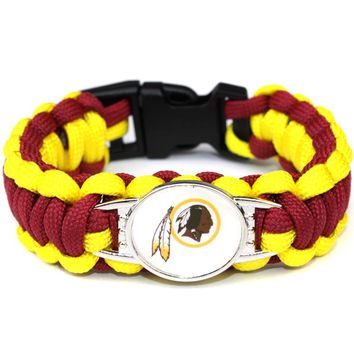 Fashion Paracord Bracelet Washington Redskins American Football Team Umbrella Braided Bracelet Football Fans Gift