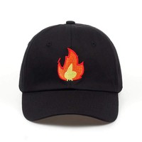 FIRE FLAME Black Embroidered Cotton Dad Hat