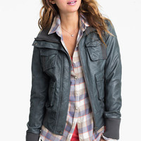 Collection B Faux Leather Bomber Jacket (Juniors) | Nordstrom