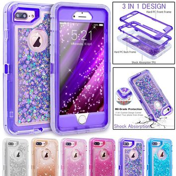 Defender Glitter 3D Bling Sparkle Flowing Liquid Case  Anti-Drop PC Frame + Shockproof TPU Silicone Core Case Cover for iPhone 8