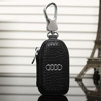 Audi Fashion Leather Zipper Car Key Wallet Case Cover