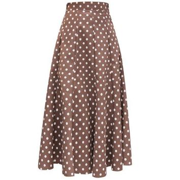 2018 summer Women Skirts Polka Dot High Waist umbrella skirt Vintage Skirt  long skirt