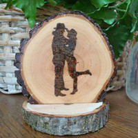 Rustic Wedding Cake Topper Cowboy Couple Silhouette Wood Burned