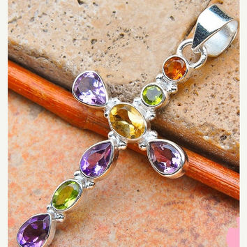 HUGE SALE 35% OFF Garnet Amethysts Citrine Peridot Cross 925 Sterling Silver Pendant Great Gift Supplies