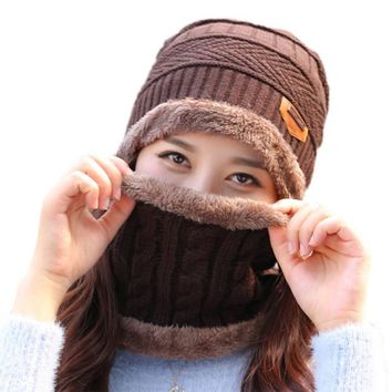 Knitted Winter Hat Scarf Set Crochet For Men Autumn Winter Caps Hats Skullies Hood  For Women Warm Cap with Collar
