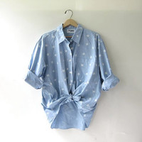 vintage oversized shirt with STARS. button down shirt. cotton STAR shirt