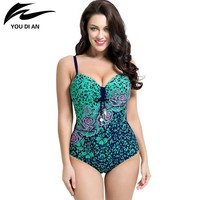 Plus Size One Piece Swimsuit Swimwear Padded Monokini Large Bust Swimsuits
