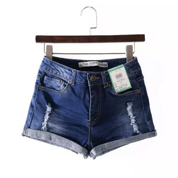 Summer Ripped Holes Denim Rinsed Denim Shorts [4917819524]
