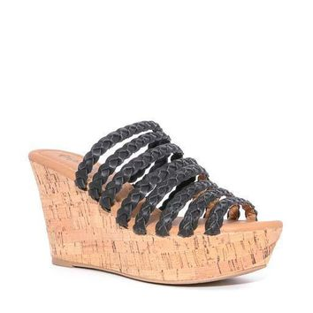 Black Ariel Braided Strap Wedge Sandals