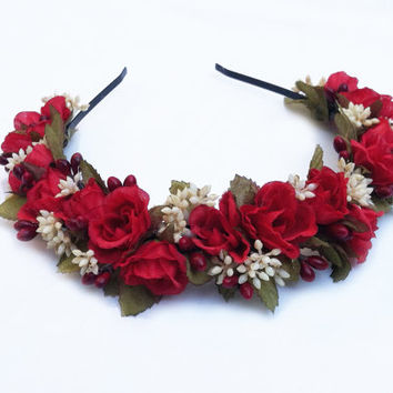Valentine's Day Flower Crown - Red Rose Headband, Red and White, Bright Red, Winter Wedding, Flower Girl, Headpiece, Floral Crown, Gift Idea