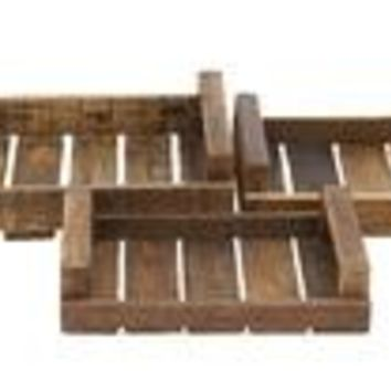 Rural And Rustic Wood Tray Set Of 3