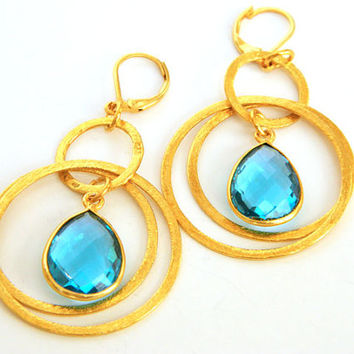 Blue Topaz Dangle Earrings Handcrafted Gemstone Double Gold Hoop Short