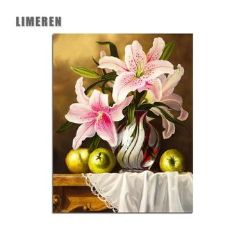 Flowers on the desktop DIY Digital Painting By Numbers Modern Wall Art Canvas Painting Unique Gift For Art Wall Home Decor