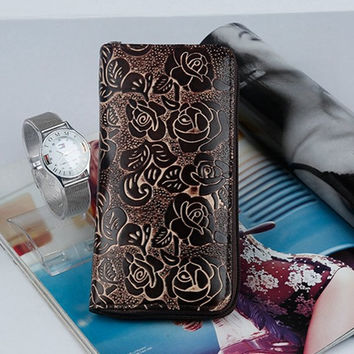 Ladies Synthetic Leather Floral Passport Wallet Embossing PU Wallet Purse