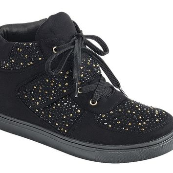 Ladies fashion street style, mixed material high top sneaker, closed round toe, flat heel, lace up closure,rhinestone-adorned upper