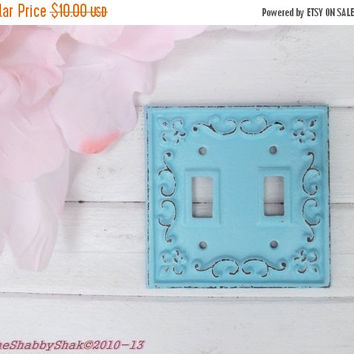 NEW YEARS SALE Light Switch Plate / Cast Iron Wall Decor / Fleur de lis / Shabby Chic Decor / Light Cover / Aqua Decor