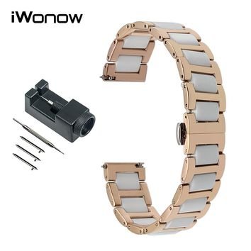 16mm Ceramic & Stainless Steel Watchband for Moto 360 2 42mm Women Huawei Talkband B3 Fossil Q Accomplice Watch Band Wrist Strap