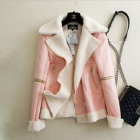 Fashion long-sleeved zipper lapel jacket